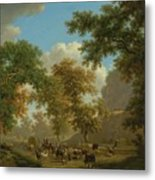 Shore, Pierre-louis Geneva 1753 - 1817 Presinge Lively And Large Trough Path At The Foot Of Cliffs Metal Print