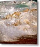 Sunset Beach Splash Metal Print