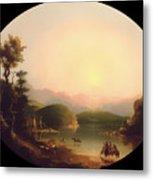 Shoshone Indians At A Mountain Lake Metal Print