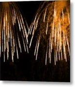 Shower Of Orange Colors Using Pyrotechnics Firework Metal Print