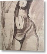 Showing Figure - Sketch Of A Female Nude Metal Print