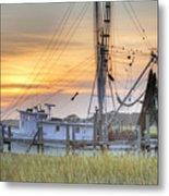 Shrimp Boat Sunset Charleston Sc Metal Print