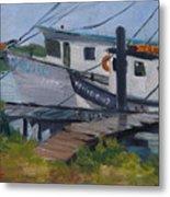 Shrimpboat Docks At St. Augustine Port Metal Print