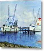 Shrimpboats At Dock Metal Print