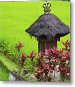 Shrine In Rice Field Metal Print
