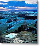 Shropshire Winter Sunset Scene Metal Print