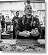 Shucking Oysters 2 - French Quarter- Bw Metal Print
