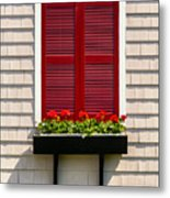 Shutter And Flowers Metal Print