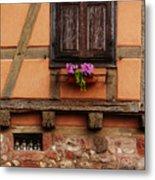Shutters And Window Box In Kaysersberg Metal Print