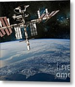 Shuttle Docked At Space Station Metal Print