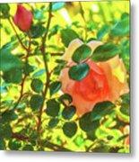 Sketchy Rose Metal Print