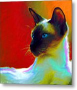 Siamese Cat 10 Painting Metal Print