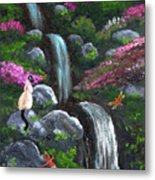 Siamese Cat And Dragonflies Metal Print