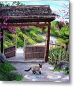 Siamese Cat At Hakone Side Gate Metal Print