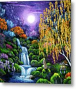 Siamese Cat By A Cascading Waterfall Metal Print