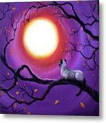 Siamese Cat In Purple Moonlight Metal Print