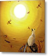 Siamese Cat With Red Dragonflies Metal Print