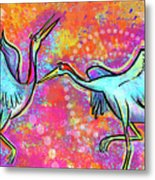 Siberian Cranes Metal Print