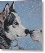Siberian Huskies In Snow Metal Print by Lee Ann Shepard
