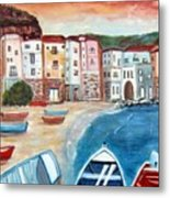 Sicilian Fishing Village Metal Print