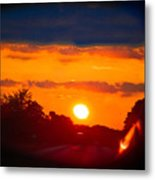 Side Mirror Sunset Metal Print