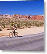 Side Profile Of A Person Cycling Metal Print