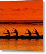 Side View Of Paddlers Metal Print by Joe Carini - Printscapes