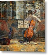 Sidewalk Cellist Metal Print