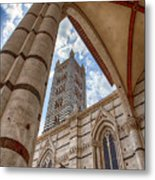 Siena Cathedral Tower Framed By Arch Metal Print