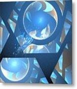 Sienna Blue Honeycomb Metal Print