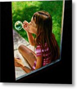 Sierra Blowing Bubbles Metal Print