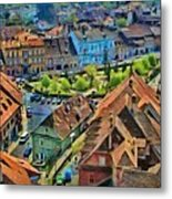 Sighisoara From Above Metal Print