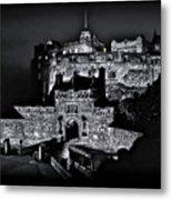 Sights In Scotland - Castle Bagpiper Metal Print