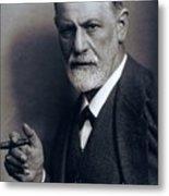 Sigmund Freud 1856-1939 Smoking Cigar Metal Print by Everett