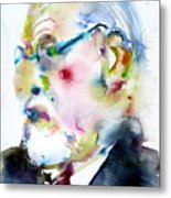 Sigmund Freud - Watercolor Portrait.3 Metal Print