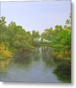 Signed Fluss By Samuel Matheis Acrylic River Holzminde, Holzminden, Germany. Metal Print