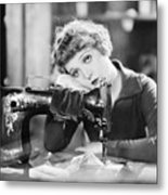 Silent Film Still: Sewing Metal Print by Granger