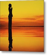 Silhouette Of A Girl Practicing Yoga Reflected On The Surface Of Water During Beautiful Sunset Metal Print