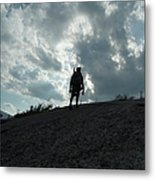 Silhouette Of A Hiker On Middle Sugarloaf Mountain - White Mountains New Hampshire Usa Metal Print