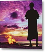 Silhouette Of A Local Man Standing By The Bonfire On The Beach In Maldives During Dramatic Sunset Metal Print