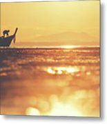 Silhouette Of A Thai Fisherman Wooden Boat Longtail During Beautiful Sunrise Metal Print