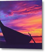 Silhouette Of A Wooden Thai Boat  On The Beach During Beautiful And Dramatic Sunset Metal Print