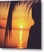 Silhouette Of A Young Boy Watching Beautiful Caribbean Sunset Metal Print