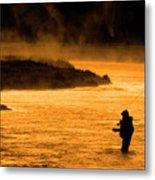 Silhouette Of Man Flyfishing Fishing In River Golden Sunlight Metal Print