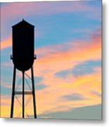 Silhouette Of Small Town Water Tower Metal Print
