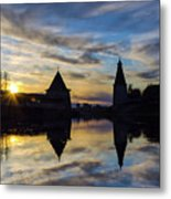 Silhouette Of Stronghold And Sunset. Pskov Kremlin. Russia Metal Print