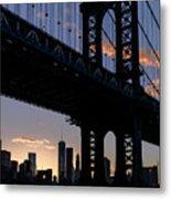 Silhouette Of The Manhattan Bridge Metal Print