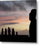 Silhouette Of The Moai Metal Print