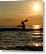 Silhouette Of Woman Kayaking In The Ocean. Metal Print