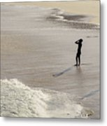 Silhouette On Beach Metal Print